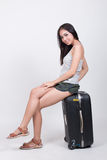 Aziatisch meisje in reisconcept Stock Afbeeldingen