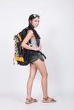 Aziatisch meisje in reisconcept Royalty-vrije Stock Foto's