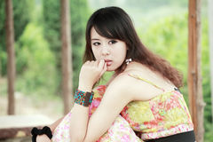 Aziatisch meisjes openluchtportret Stock Afbeelding