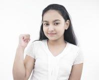 Aziatisch meisjeskind met teddy haar stock foto