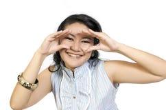 Aziatisch Model dat Haar Ogen frame Royalty-vrije Stock Fotografie