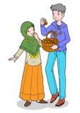 Aziatisch moslimjongen en meisje Stock Afbeeldingen