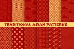 Aziatisch naadloos patroon van oosters gouden ornament Royalty-vrije Stock Foto