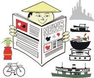 Aziatisch nieuwsbeeldverhaal Stock Afbeeldingen