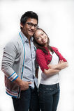 Aziatisch Paar dat samen glimlacht Royalty-vrije Stock Afbeelding