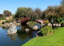 Aziatisch park in van de het meertuin van La Serena Chili de groene installaties Royalty-vrije Stock Foto's
