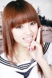 Aziatisch schoolmeisjeportret Royalty-vrije Stock Afbeelding