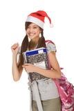 Aziatisch studentenmeisje in de hoed van de Kerstman van Kerstmis Royalty-vrije Stock Foto's