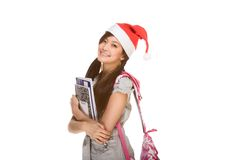 Aziatisch studentenmeisje in de hoed van de Kerstman van Kerstmis Stock Foto