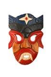 Aziatisch traditioneel houten geschilderd die masker op wit wordt geïsoleerd Stock Afbeeldingen