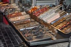 Aziatisch Voedsel Diverse insecten zijn gebraden op vleespennen Royalty-vrije Stock Afbeelding