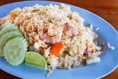 Aziatisch voedsel, Garnalen gebraden rijst Royalty-vrije Stock Afbeelding