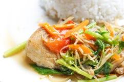 Aziatisch voedsel: Gestoomde zalm Stock Afbeeldingen