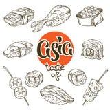 Aziatisch voedsel, sushi en Japanse snack lineart, krabbel, schetscol. stock illustratie