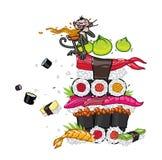 Aziatisch voedsel, sushi, sashimi, wasabi Vectordiebeeld, op witte achtergrond wordt geïsoleerd Japanse en Chinese keuken Illustr stock illustratie