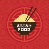 Aziatisch voedselembleem Oosters keukenembleem Een kom met noedels en eetstokjes vector illustratie