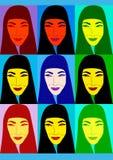Aziatisch vrouwenbeeldverhaal Stock Fotografie