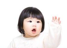 Aziatische babyhand omhoog royalty-vrije stock foto