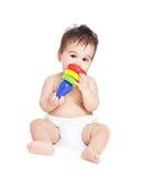 Aziatische babyjongen met stuk speelgoed Royalty-vrije Stock Afbeeldingen