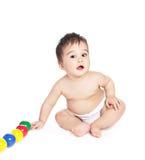 Aziatische babyjongen met stuk speelgoed Royalty-vrije Stock Fotografie