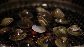 Aziatische BBQ die het openen tweekleppige schelpdieren op een gasgrill roosteren in één restaurant Chinees stock footage