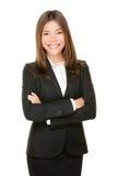 Aziatische bedrijfsvrouw die gelukkig portret glimlachen Stock Foto