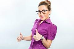 Aziatische Bedrijfsvrouw die succes hebben Stock Foto