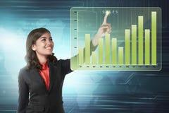 Aziatische bedrijfsvrouw wat betreft de marketing van de grafiek van het verkoopinkomen Royalty-vrije Stock Afbeeldingen