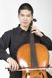 Aziatische cellist 1 stock foto's