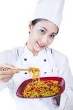 Aziatische geïsoleerde chef-kok en gebraden noedel - stock afbeeldingen