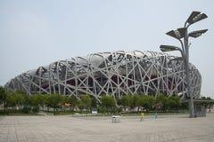 Aziatische Chinees, het Nationale Stadion van Peking, het nest van de vogel, Stock Afbeelding