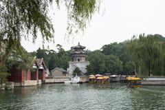 Aziatische Chinees, Peking, het de Zomerpaleis, dok stock afbeelding