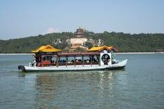 Aziatische Chinees, Peking, het de Zomerpaleis, Kunming-meer, wierook, cruise Stock Foto's