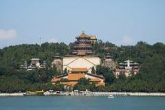 Aziatische Chinees, Peking, het de Zomerpaleis, Toren van Boeddhistische Wierook Royalty-vrije Stock Foto's