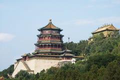 Aziatische Chinees, Peking, het de Zomerpaleis, Toren van Boeddhistische Wierook Royalty-vrije Stock Afbeeldingen