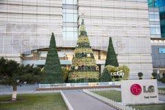 Aziatische Chinees, Peking, moderne architectuur, Nieuwjaardecoratie Stock Fotografie