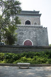 Aziatische Chinees, Peking, oude architectuur, de klokketoren Royalty-vrije Stock Afbeeldingen