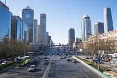 Aziatische Chinees, Peking, stadsverkeer en bouw Royalty-vrije Stock Foto