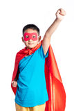 Aziatische Chinese jongen die super heldenkostuum dragen Stock Fotografie