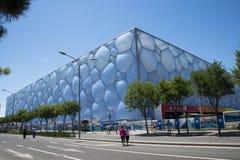 Aziatische Chinese, moderne architectuur, het Nationale Zwemmende Centrum, de waterkubus Stock Foto