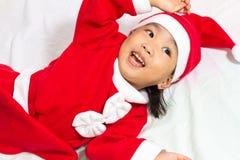 Aziatische Chinese Santa Girl Stock Afbeeldingen