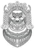 Aziatische demonhond of leeuw stock illustratie