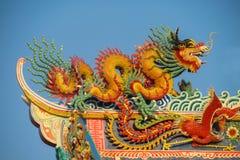 Aziatische draak in de Chinese tempel, de godsdienst van China royalty-vrije stock fotografie