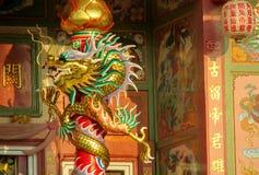 Aziatische draak in de Chinese tempel, de godsdienst van China royalty-vrije stock foto's