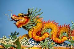 Aziatische draak in de Chinese tempel, de godsdienst van China royalty-vrije stock afbeeldingen