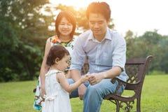 Aziatische familie openlucht Stock Fotografie