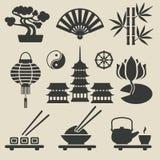 Aziatische geplaatste pictogrammen Stock Foto's