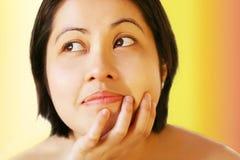 Aziatische gezichtshouding stock fotografie