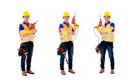 Aziatische het beroepsreeks van de bouwmens Stock Afbeeldingen