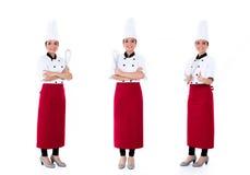 Aziatische het beroepsreeks van de chef-kokvrouw Royalty-vrije Stock Afbeeldingen